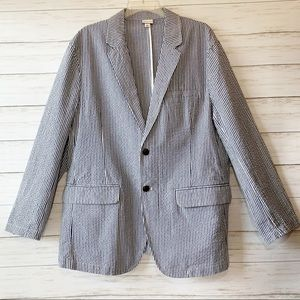Merona | Navy & White Striped Blazer | Size L